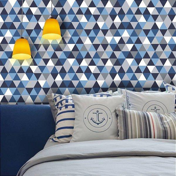 Papel de Parede Geométrico Triângulos em tons de Azul e Cinza