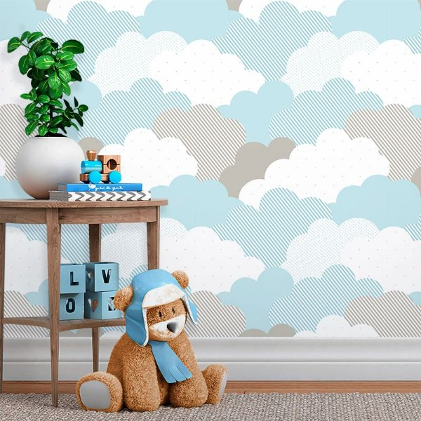 Papel de Parede Baby Nuvens de Algodão Azul Claro