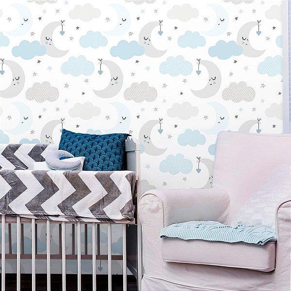 Papel de Parede Baby Nuvens e Lua Cinza e Azul