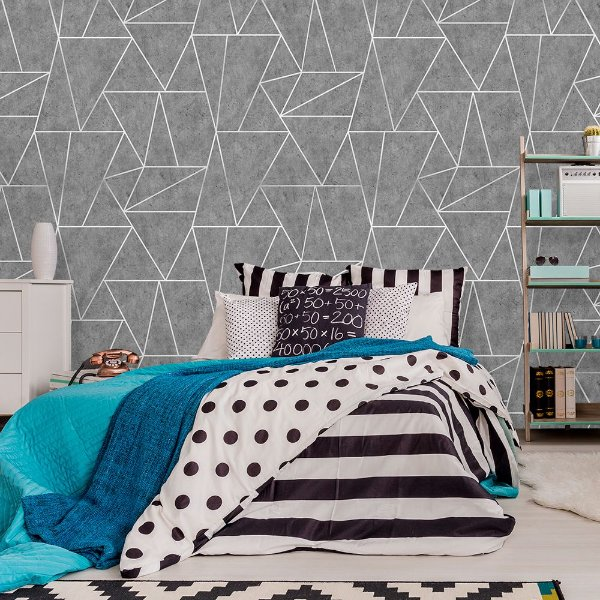 Papel de Parede Geométrico Premium Cimento Queimado