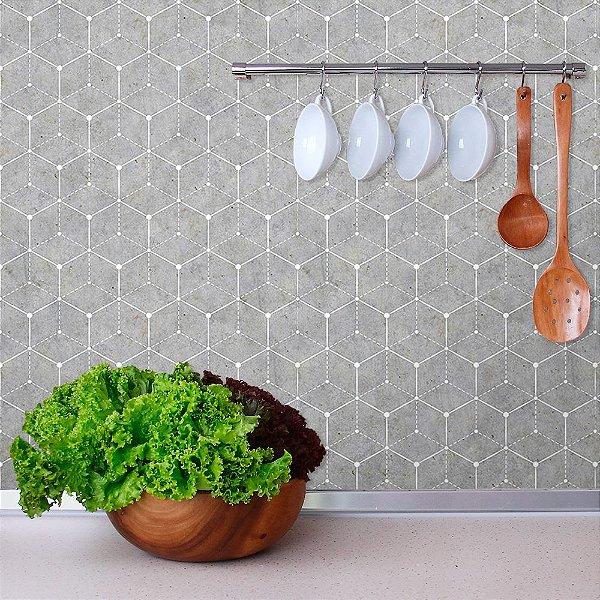 Papel de Parede Geométrico com Cimento Queimado Claro