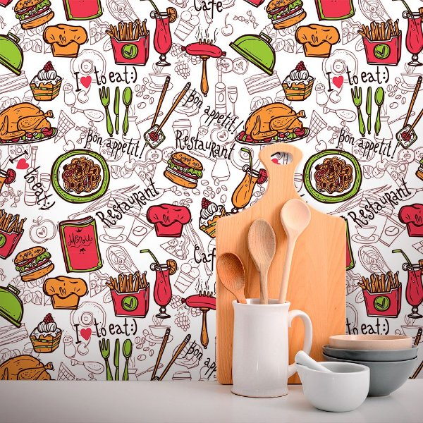 Papel de Parede Para Cozinha I Love Eat