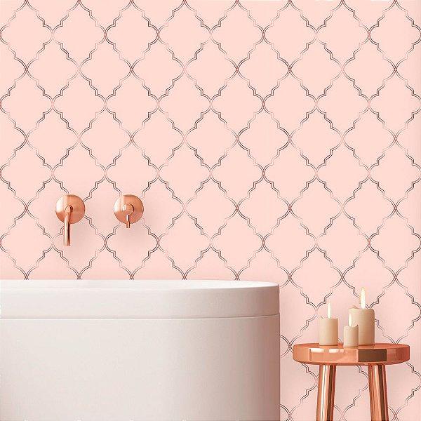 Papel de Parede Geométrico Soft Pink Dark
