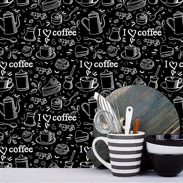 Papel de Parede Para Cozinha Love Coffee Preto e Branco