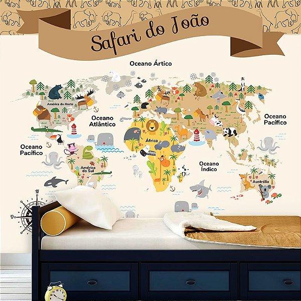 Papel de Parede Personalizado Mapa Safári