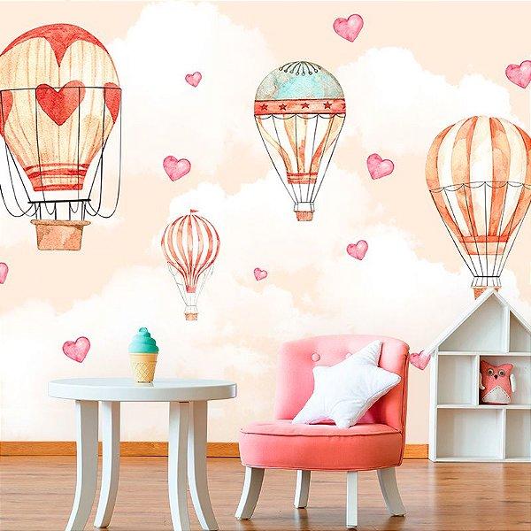 Papel de Parede Personalizado Balão Corações Cute