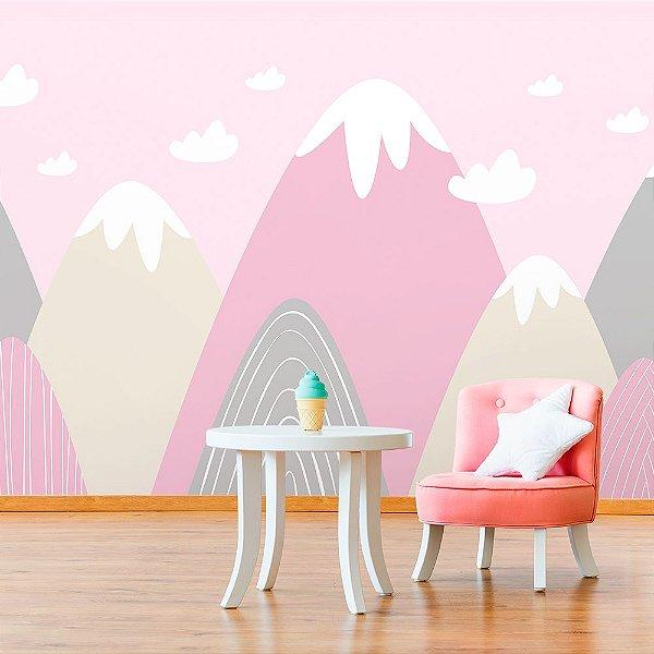 Papel de Parede Personalizado Montanhas em Rosa
