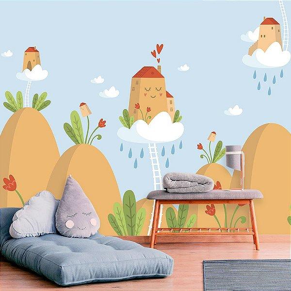 Papel de Parede Personalizado Casa nas Nuvens Azul