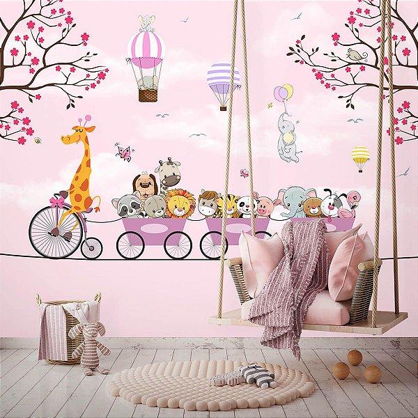 Papel de Parede Personalizado Passeio Encantado Baby Pink