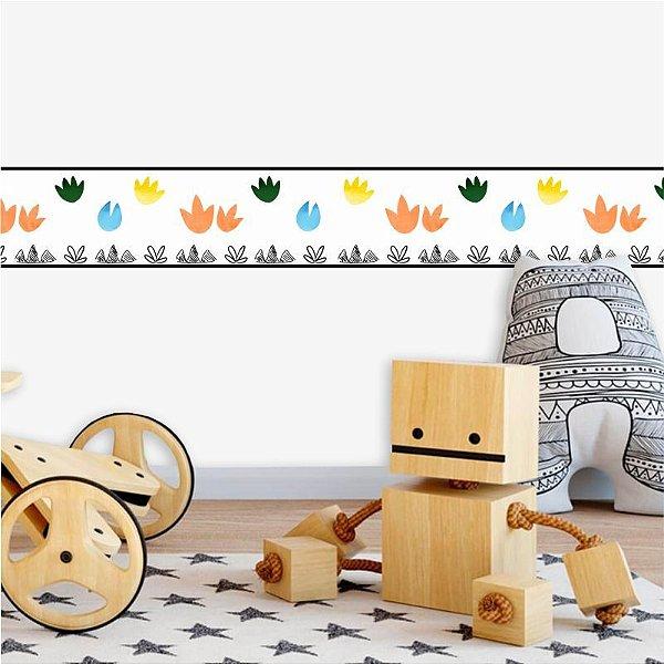 Faixa Decorativa Infantil Dinossauros Pegadas Cute