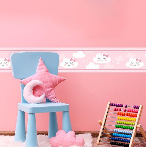 Faixa Decorativa Infantil Nuvens Rosa