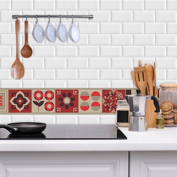 Faixa Decorativa para Cozinha em Bege e Vermelho