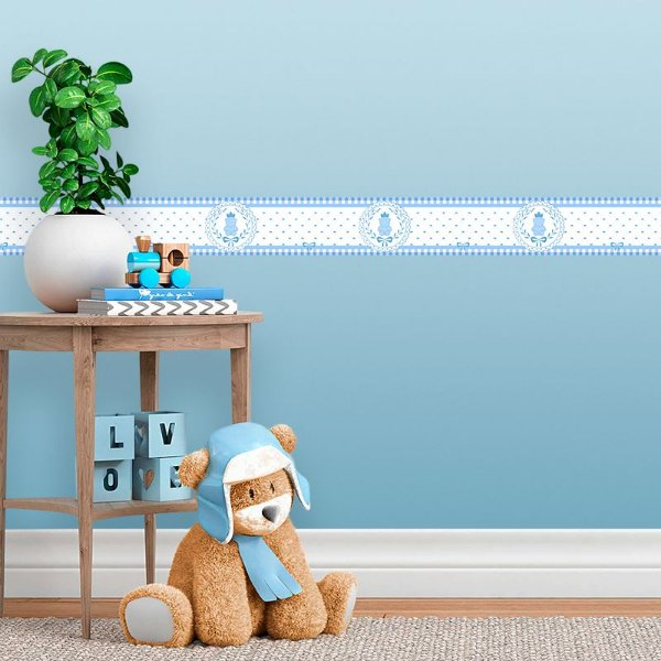Faixa Decorativa Infantil Ursinho Xadrez