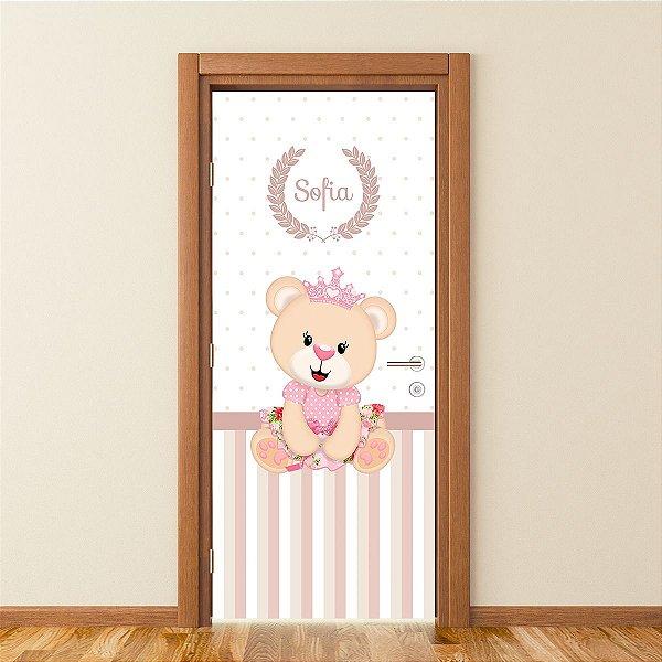 Adesivo Personalizado Para Porta Ursinha Princesa