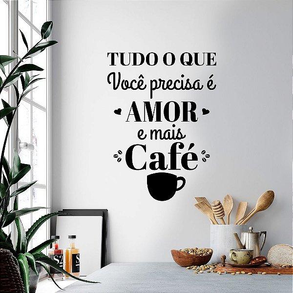 """Adesivo Decorativo Frase """"Amor e Café"""""""