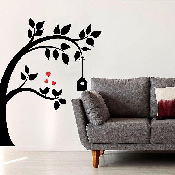 """Adesivo Decorativo """"Árvore com Pássaros"""""""