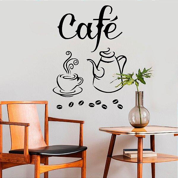 """Adesivo Decorativo Frase """"Café"""""""