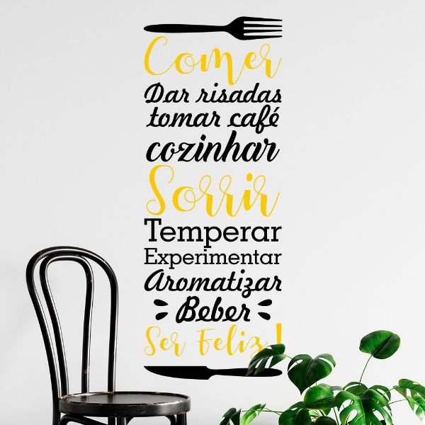 """Adesivo Decorativo Frase """"Comer, Sorrir e ser Feliz"""""""