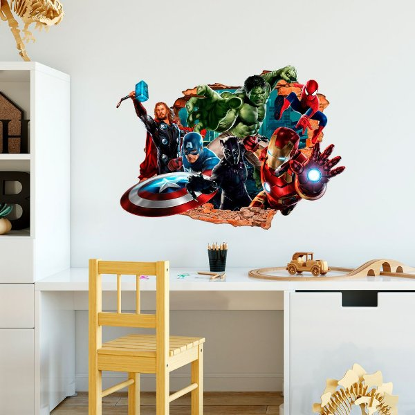 Adesivo Decorativo Buraco Falso 3D Marvel