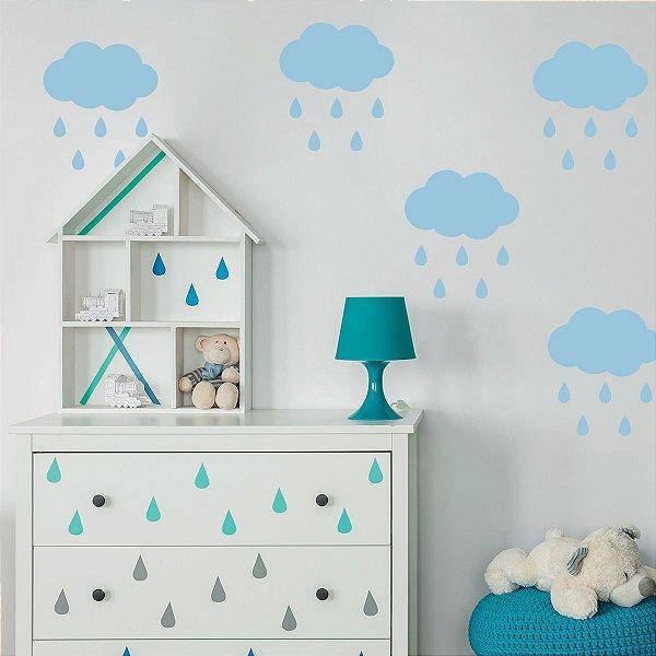 Adesivo de Parede Cloud Rain Blue