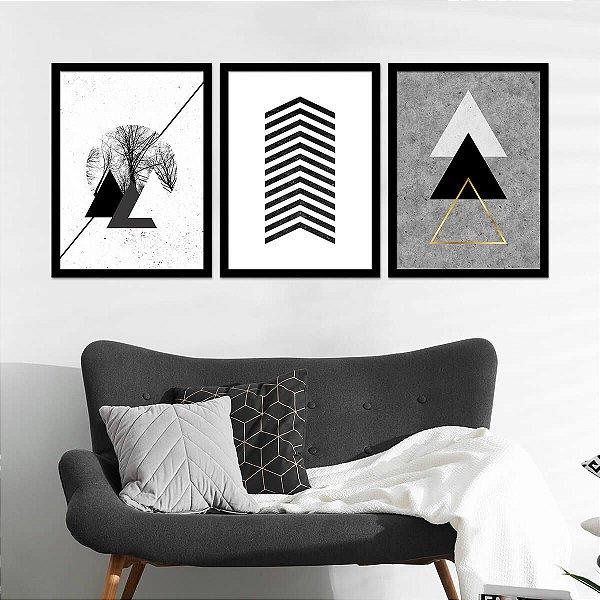 Kit Quadro Decorativo Elegant Triangles