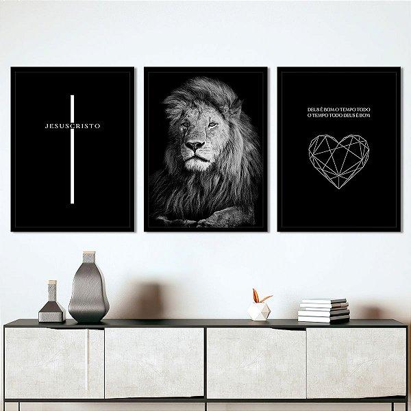 Kit Quadro Decorativo Deus é Bom o Tempo Todo