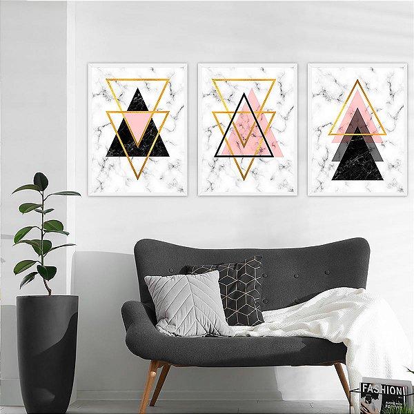 Kit Quadro Decorativo Mármore & Triângulos