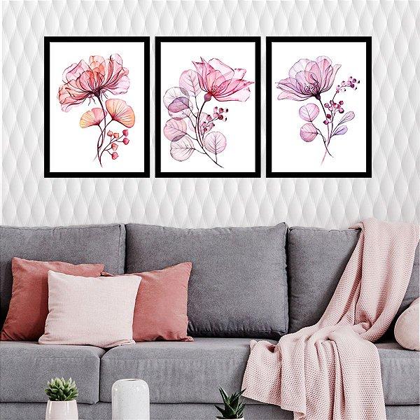 Kit Quadro Decorativo Abstrato Flowers