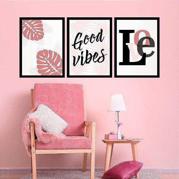 Kit Quadro Decorativo Good Vibes Love