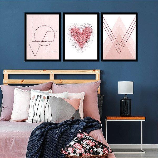 Kit Quadro Decorativo Love Heart