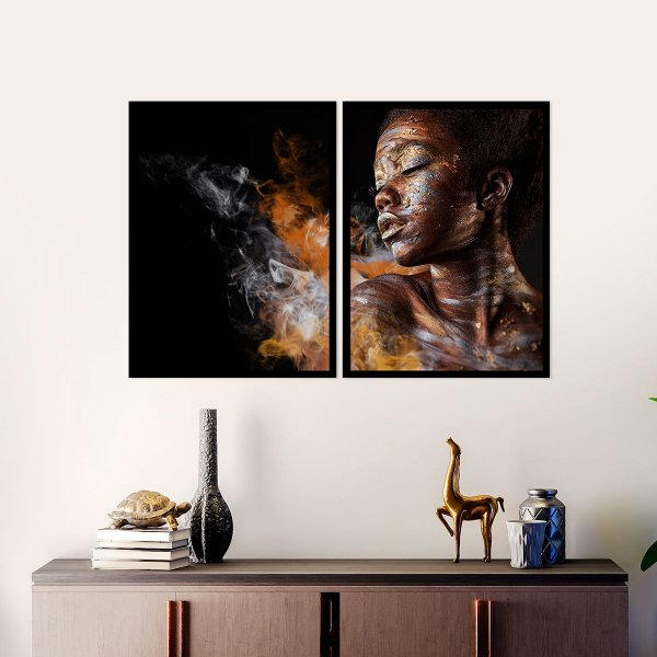Kit Quadro Decorativo Make Up Black Girl