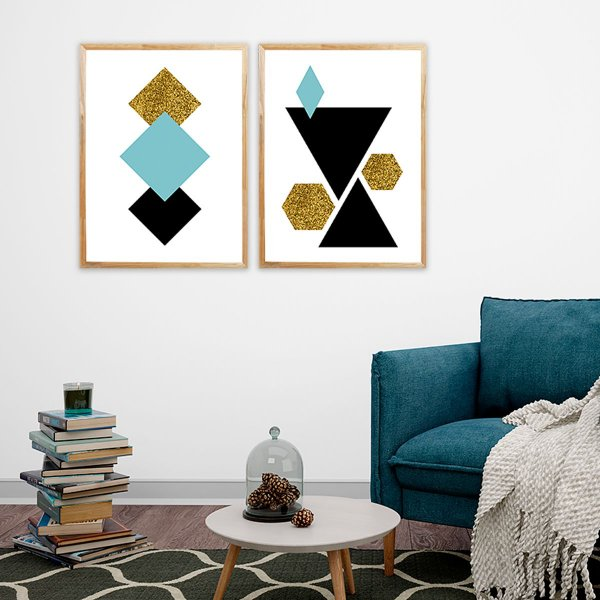 Kit Quadro Decorativo Escandinavos Geométricos