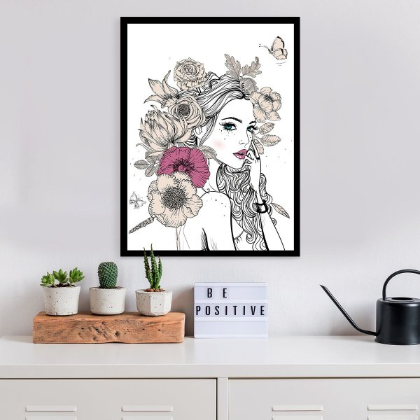 Quadro Decorativo Flowers Girl