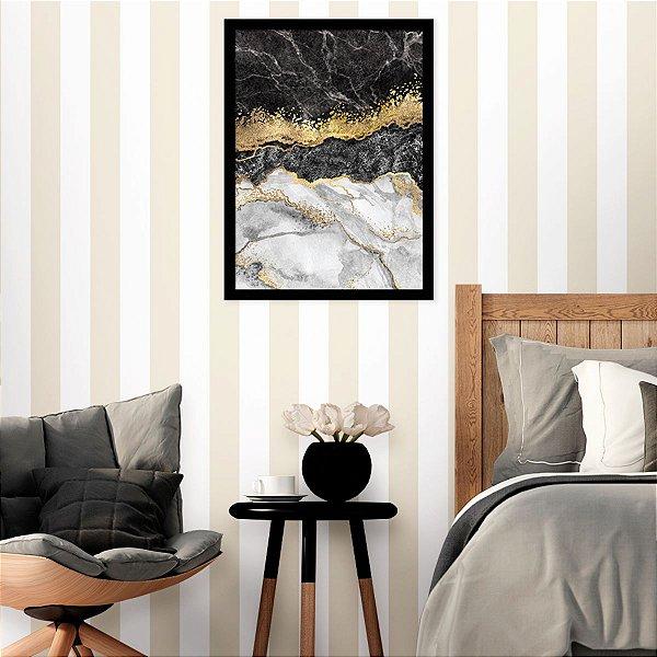 Quadro Decorativo Mármore Preto, Branco e Dourado
