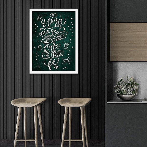 Quadro Decorativo Café, Amor e Fé