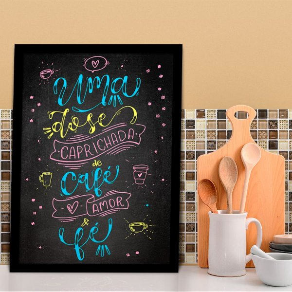 Quadro Decorativo Café, Amor e Fé Colorful