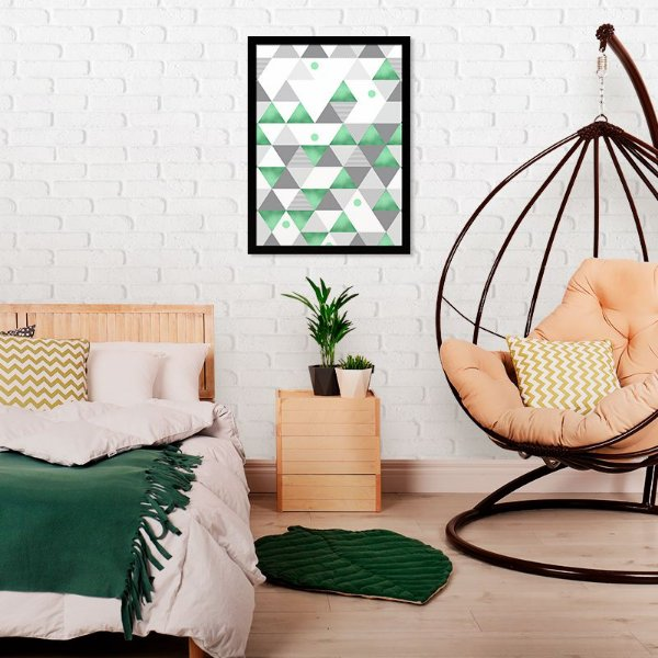 Quadro Decorativo Triângulos Neo Mint