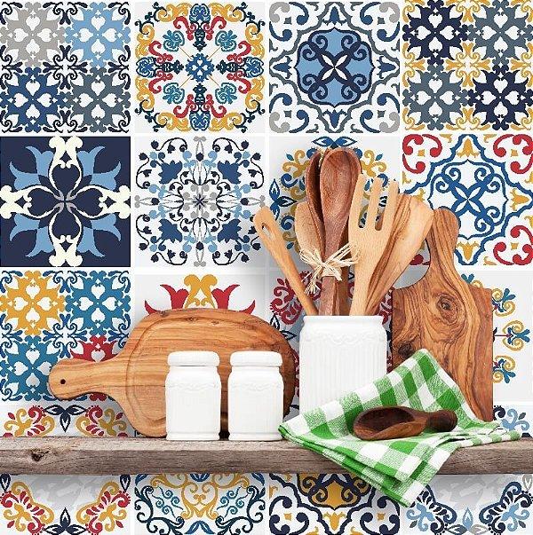 Kit Adesivo Azulejo em Tons de Azul, Amarelo, Cinza e Vermelho