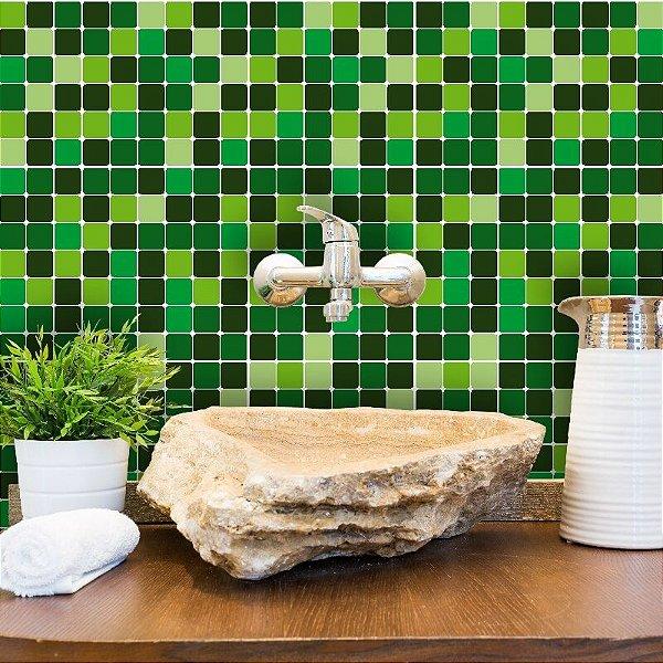 Kit Adesivo Azulejo Estilo Pastilhas em Tons de Verde