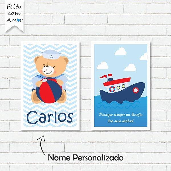 kit de Placas Decorativa Ursinho Marinheiro