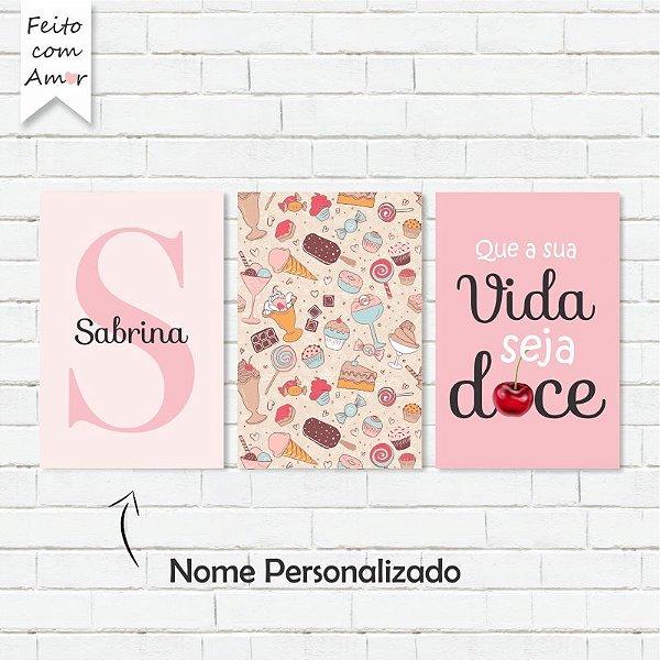 Kit de Placas Decorativas Que a Vida Seja Doce