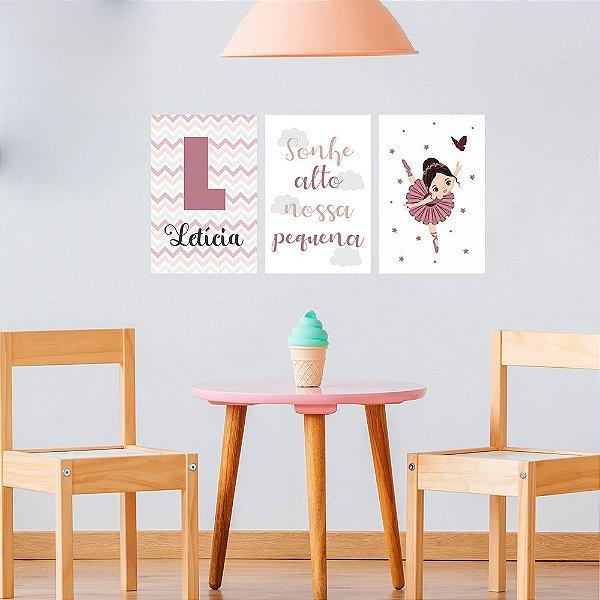 Kit de Placas Decorativas Sonhe Alto Pequena Bailarina
