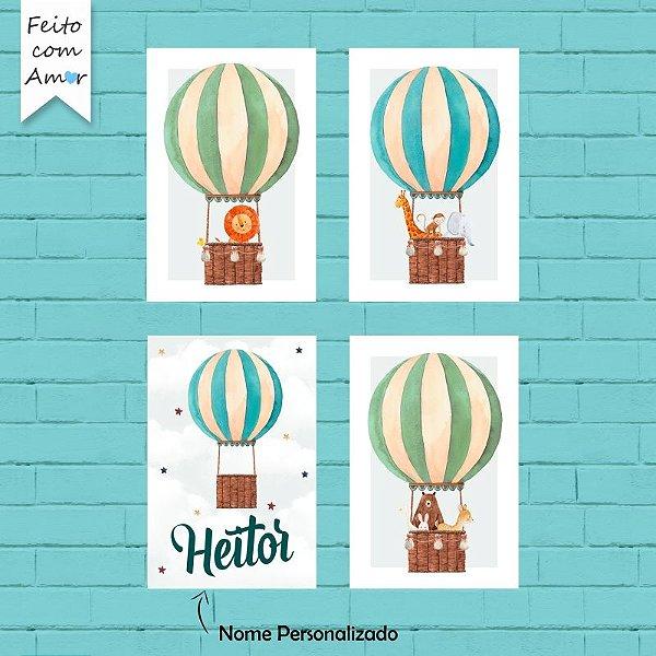 Kit de Placas Decorativas Balões Cute Aquarela