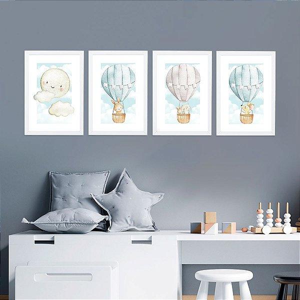 Kit de Placas Decorativas Lua e Balões Cute Azul