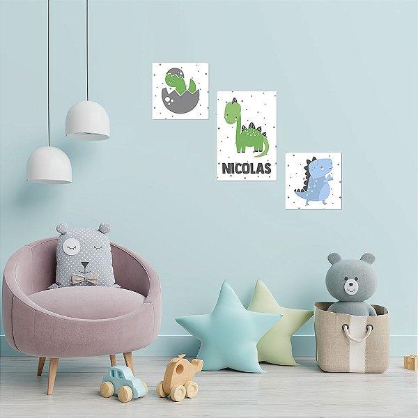 Kit de Placas Decorativa Dinos Cute
