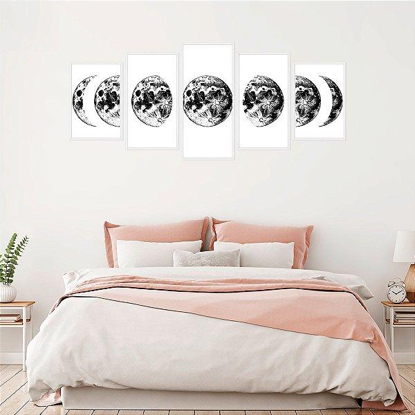 Quadro Decorativo Mosaico Fases da Lua Preto e Branco