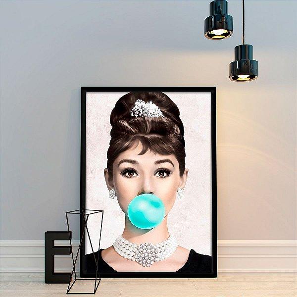 Quadro Decorativo Audrey Hepburn em MDF com moldura 45x60