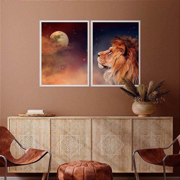 Kit Quadro Decorativo Leão Moon