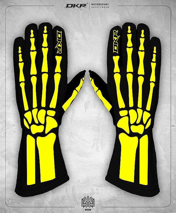 10. Luva Linha Bones Preto e Amarelo