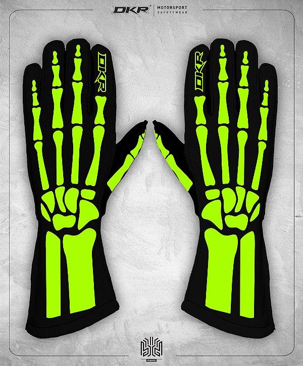 12. Luva Linha Bones Preto e Verde